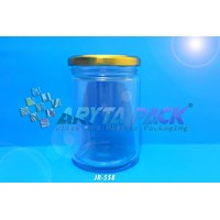 Jar kaca 500ml bulat tutup kaleng gold (New) (JR558)