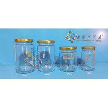 Jar kaca 330ml tutup kaleng emas (Second) (JR079)