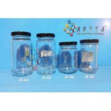 JR406. Jar kaca 230ml tutup kaleng hitam (New)