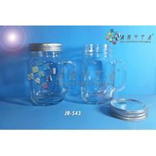 Drinking jar 450ml tutup kaleng silver (New) (JR543)