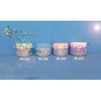 Botol Kosmetik Pot cream 12.5 gram PP bunga pink (PC332)