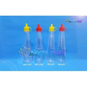 Botol plastik kecap 150ml tutup fliptop merah (PET677)