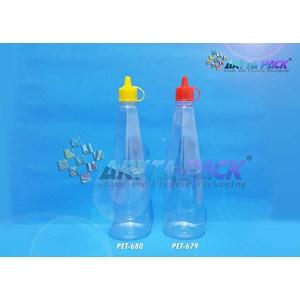 Botol plastik kecap 300ml tutup fliptop kuning (PET680)