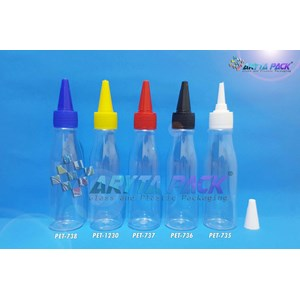 Botol plastik PET 100ml Amos tutup tinta hitam (PET736)