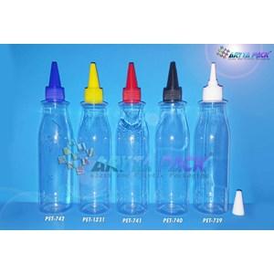 Botol plastik PET 250ml Amos tutup tinta biru  (PET742)