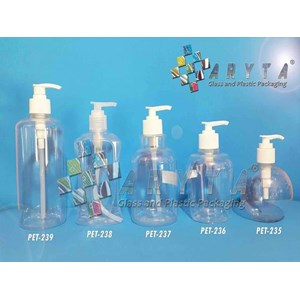 Botol plastik PET 300ml handsoap apel tutup pump (PET236)