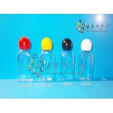 Botol plastik PET 30ml kosmetik gepeng tutup globe putih (PET535)
