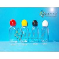 Botol plastik PET 30ml kosmetik gepeng tutup merah globe (PET605)    1