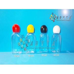 Botol plastik PET 30ml kosmetik gepeng tutup merah globe (PET605)