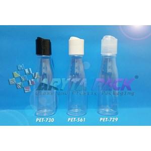 Botol plastik PET Amos 100ml  tutup press on hitam (PET730)