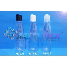 Botol plastik PET Amos 250ml  tutup press on putih susu (PET562)