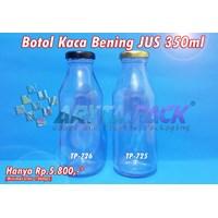 Botol kaca bening JUS 350ml tutup emas & hitam