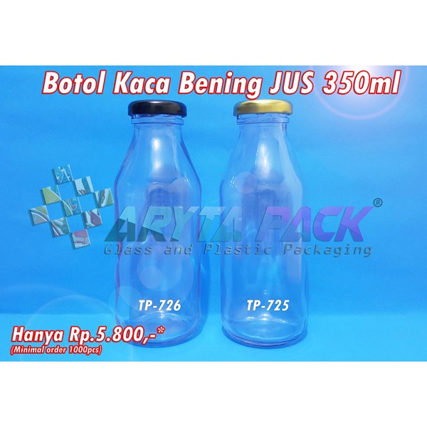 Clear glass bottles of 350 ml JUICE lid gold & black