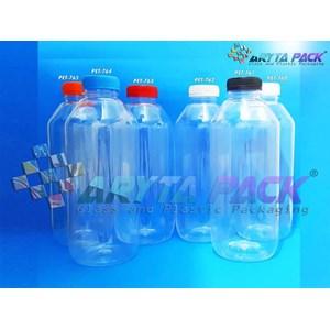 Botol plastik minuman 1liter jus kale tutup segel natural (PET760)