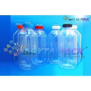 Botol plastik minuman 1liter jus kale tutup biru segel (PET764)