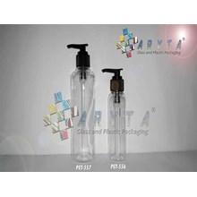 Botol plastik PET 100ml Lena tutup pump hitam (PET556)