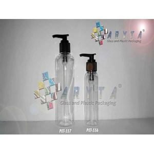 Botol plastik PET 250ml Joni tutup pump hitam (PET557)