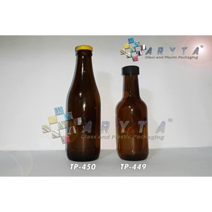 Botol kaca coklat 350ml anker stout tutup sumbat (Second) (TP767)