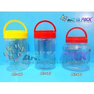 Toples plastik PET 1kg astor pendek tutup merah (PET684)