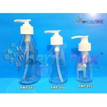 Botol kaca bening 100ml tutup pump (Second) (PMP696)