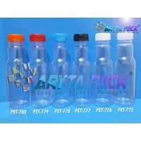 PET777. Botol plastik minuman 350ml jus cikita tutup hitam segel