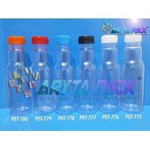 Botol plastik minuman 350ml jus cikita tutup hitam segel (PET777)