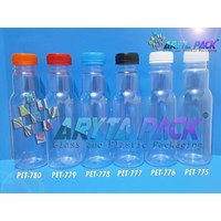 PET778. Botol plastik minuman 350ml jus cikita tutup biru segel