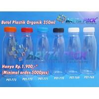 Botol plastik minuman 350ml jus organik tutup segel