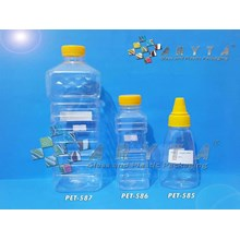 Botol plastik PET 150ml Marissa tutup kerucut kuning (PET585)