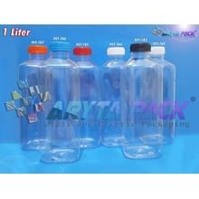 Botol plastik minuman 1Liter jus kale kotak tutup merah segel (PET785)