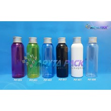 Botol plastik PET Lena natural 100ml  tutup kaleng silver (PET800)