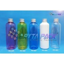 Botol plastik PET Joni biru 250ml  tutup kaleng silver (PET807)