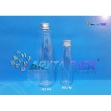 PET798. Botol plastik PET Amos 100ml  tutup kaleng silver