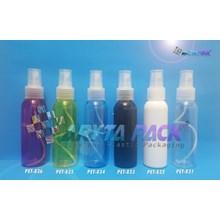 Botol plastik PET Lena biru 100ml tutup spray natural (PET834)