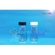 Toples plastik PET 100ml selai pinggang tutup hitam (PET1000)