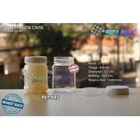 Toples plastik PET 200ml selai cinta tutup putih (PET995)