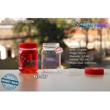 PET997. PET plastic jar 200 ml Red cap love jam
