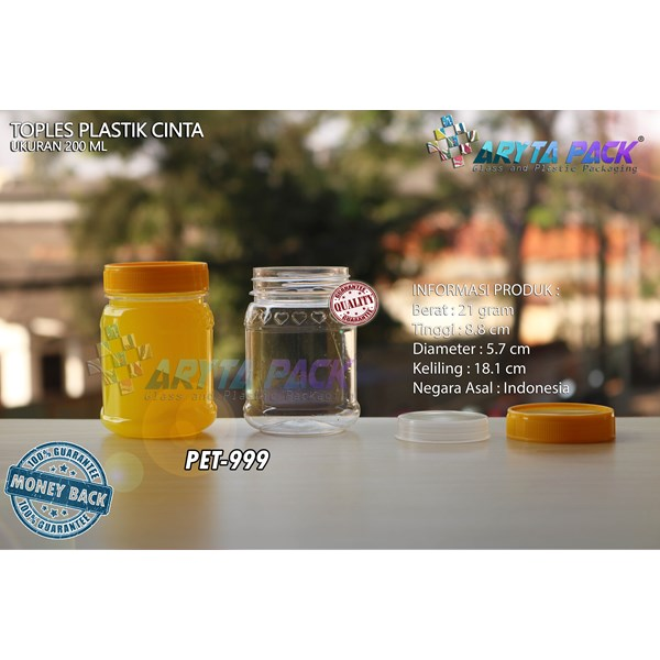 Toples plastik PET 200ml selai cinta tutup kuning (PET999)