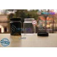 PET980. PET plastic 200 ml jar jam round black lid