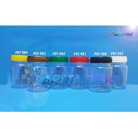 Toples plastik PET 200ml selai bulat tutup merah (PET981)
