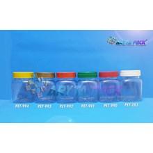 Toples plastik PET 200ml selai kotak tutup putih (PET283)