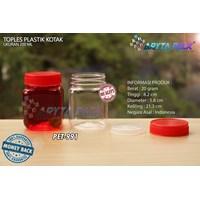 Toples plastik PET 200ml selai kotak tutup merah (PET991)