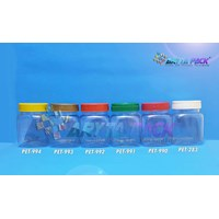 Toples plastik PET 200ml selai kotak tutup gold (PET993)