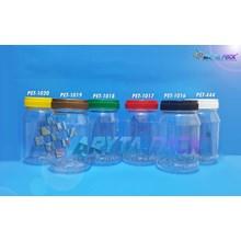 Toples plastik PET 250ml siku tutup putih (PET444)