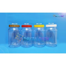 Toples plastik PET 500ml bulat tutup merah (PET285)