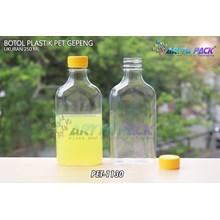 Botol plastik minuman gepeng 300ml tutup kuning (PET1130)