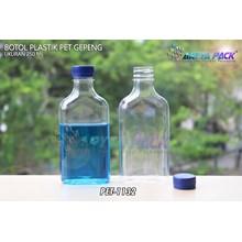 Botol plastik minuman gepeng 300ml tutup biru (PET1132)