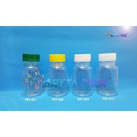 Botol plastik minuman 125ml BKB tutup segel kuning (PET960)