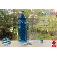 Dari Botol plastik PET 1 Liter aqua tutup dop segel biru (PET1239) 0