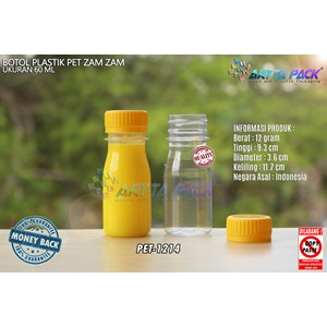 Botol plastik PET 60ml zam-zam tutup segel kuning (PET1214)